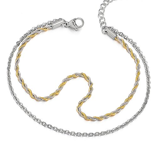 COOLSTEELANDBEYOND Two-Row Stainless Steel Silver Gold Anklet Bracelet Double Chain