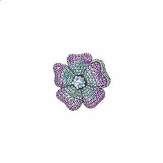بروش فضة استرليني عيار 925 ملون شكل وردة مزين بفصوص كريستال للنساء من باندورا - متعدد الالوان
