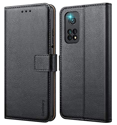 Ganbary Handyhülle für Xiaomi Mi 10T/10T Pro Hülle, Premium Leder Tasche Flipcase [Kartenschlitzen] [Magnetverschluss] [Standfunktion] kompatibel mit Xiaomi Mi 10T/10T Pro Schutzhülle, Schwarz
