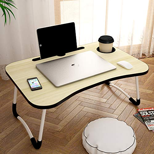 Story@Home foldable portable adjustable multifunction laptop study lapdesk table for breakfast serving bed tray office work gaming watching movie on bed/couch/sofa/floor with cup slot and tablet/ipad/notebook holder stand - Cream