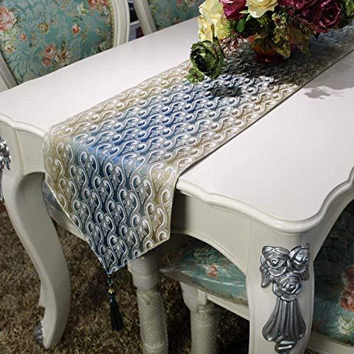 Camino de mesa, diseño vintage de lujo, telar jacquard, color dorado, azul, moderno, minimalista, con borlas, para decoración de la mesa de café, de la boda, hogar, 30 cm x 230 cm