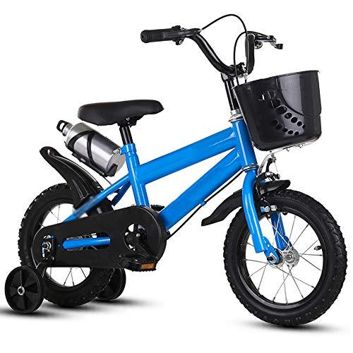 DREAMyun Bicicleta de Niño niña 3-9 años 12 14 16 Pulgadas Ruedas auxiliares Bicicletas Infantiles Bicicleta para niños,Azul,14