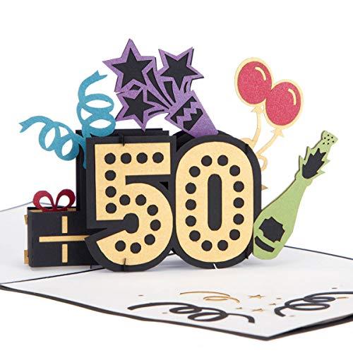 Cardology | 50th Birthday Pop Up Card | 50th Birthday Cards, 50th Birthday Cards for Wife, 50th Birthday Gifts, 50th Birthday Ideas, Handmade