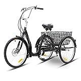 Erwachsenendreirad Erwachsene Dreirad Erwachsene Dreiräder Schwarz 26 Zoll DREI Rad Fahrrad Mit Einkaufskorb Trike Bike Fahrrad Für Einkaufen Picknick Outdoor Sport Männer Frauen Adult Tricycle