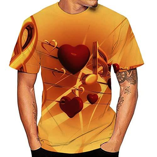 Dasongff T-shirt voor dames en heren, 3D-print, grafiek, T-shirts, uniseks, grappig, zomer, korte mouwen, ronde hals, interessante bruiloft, bar, party, carnaval, strand, vrije tijd blouse Small oranje