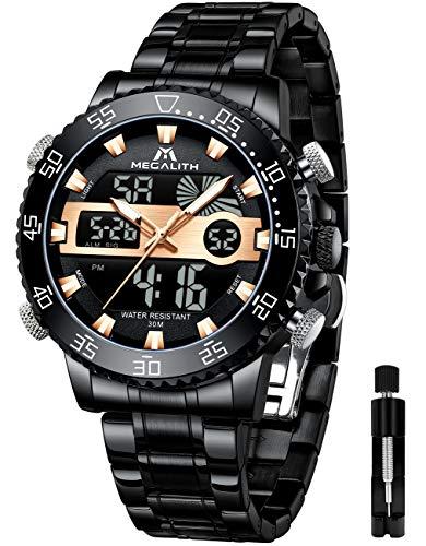 MEGALITH Reloj Digital para Hombre Relojes Deportivos Militares Negros para Hombres Reloj de Pulsera de Acero Inoxidable Relojes analógicos Grandes LED a Prueba de Agua Calendario de Alarma Luminosa