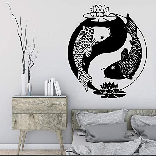zaosan Wandaufkleber Wandtattoo Chinesischen Stil Vinyl Aufkleber Fisch Tai Chi Goldfisch Zen Oriental Lotus Philosophie Schlafzimmer Wohnzimmer Dekoration 57X68 cm