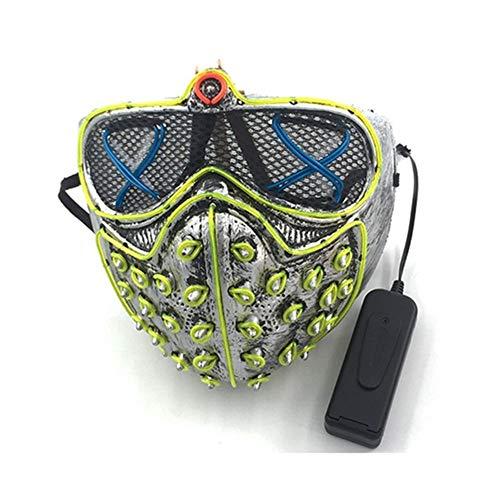 SOUTHSKY Máscara LED Halloween,Luminosa Adecuado para Halloween Cosplay, Mueca Grimace Fiesta Show, Accesorios de Broma(Azul+Verde Fluorescente)
