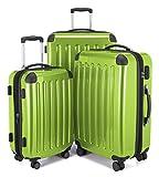 HAUPTSTADTKOFFER - Alex - Set di 3 valigie, 4 Doppie ruote, Nero brillante, (S, M & L), 235 litri, Colore  Verde mela