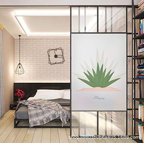 TFOOD raamfolie, raamfolie esthetisch grasgroen met motief privacy statische cling gematteerde stickers Opakes glasdecor zelfklevende UV-bescherming voor keuken badkamer woonkamer
