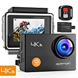 Apeman A77 Action Cam Wi-Fi 20MP Ultra FHD Impermeabile 30M Immersione Sott'Acqua Camera con Schermo 2 Pollici 170 Gradi Ampia Vista Grandangolare/Telecomando 2.4G/ 20 Accessori all'Interno, Nero