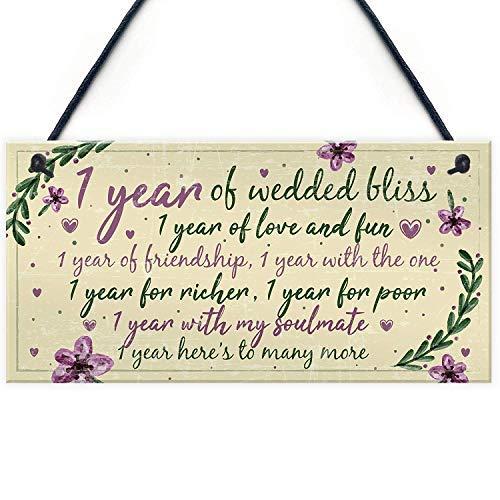 qidushop 1St Bruiloft Verjaardagskaart Gift Voor Man Vrouw Eerste Jaar Voor Haar Slaapkamer Teken met Zeggen Home Decor Houten Plaque