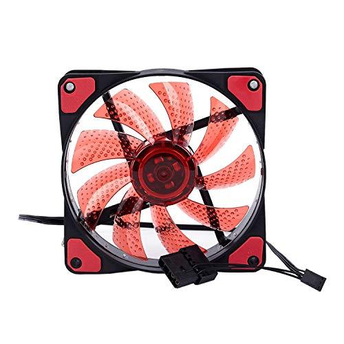 Mogzank 15 Luces LED Ordenador PC Chasis Ventilador Caja Disipador De Calor Refrigerador Ventilador 12V 4P 120 x 120 x 25mm Rojo