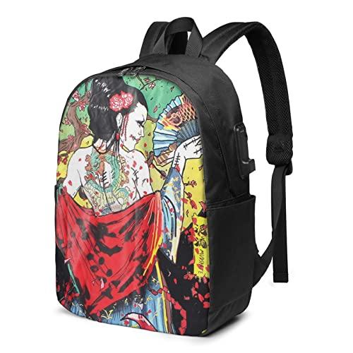 Zaino giapponese Geisha per laptop da viaggio con porta USB di ricarica per uomini e donne da 17 pollici, Nero , Taglia unica,