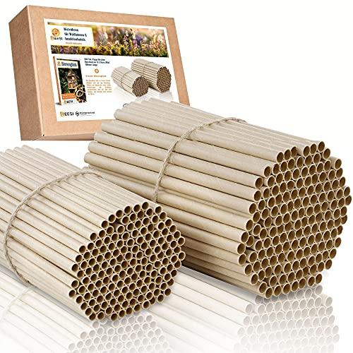 BEESI 300x Pappröhrchen für Insektenhotel 15 cm lang Durchmesser 6 UND 8 mm gemischt inkl. E-Book Niströhren u. Nisthülsen für Wildbienen