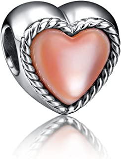 """i'ange's Heart Shaped Bead Charms with Pink Shell, 925 Sterling Silver Charms for Bracelets""""Mermaid Series"""""""