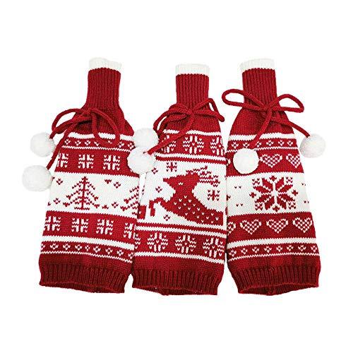 styleinside - Borsa natalizia per bottiglie di vino rosso con motivo cervo, motivo champagne