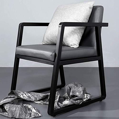 CKQ-KQ Sillón de comedor con respaldo de acero y respaldo de piel, diseño minimalista, apto para sillas de cocina de restaurante (color: gris, tamaño: 54 x 60 x 80 cm) para silla de hogar