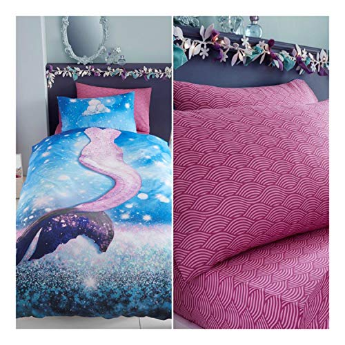FAIRWAYUK Kids Mermaid Complete Bedding Set, 4 Piece - Reversible 1x Duvet Cover 2x Pillowcase 1x Fitted Sheet, Machine Washable