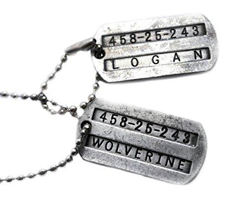 Dubbelzijdige hondenhalsband, Wolverine en James Logan, X-Men, staal