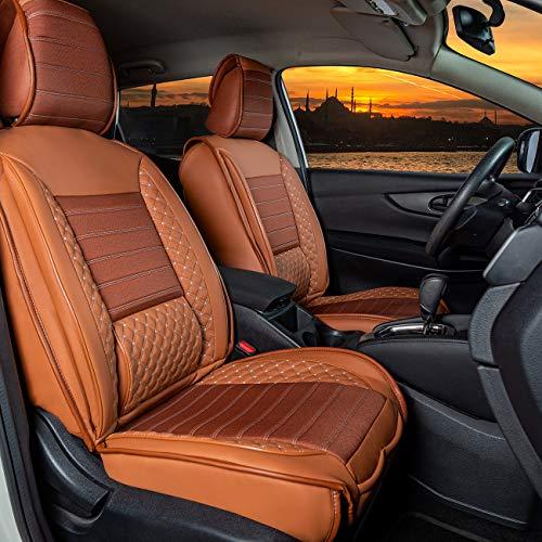 Auto Sitzbezüge, Schonbezüge, Sitzauflagen, Set für Vordersitze Rücksitze, Kunstleder Komplettset passend für Skoda Yeti 2009-2017 in Farbe Zimt