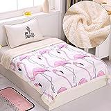 Sherpa Fleece Throws Blanket Flamingo Kid Blanket Twin Size Plush Fluffy Blanket Cartoon Velvet Reversible Blanket for Baby Crib Bed Couch Chair Sofa Home Decor(Pink Flamingo, 60' x 80')