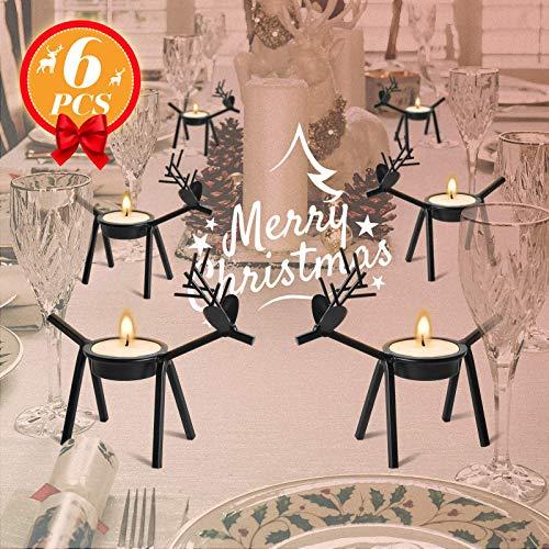 GORNPRVA 6 Pack Metal Reindeer Candle Holders, Rustic Christmas Table Decoration, Deer Candle Holder,Christmas Tealight Candle Holder, Reindeer Christmas Decoration for Home Table Mantle Fireplace