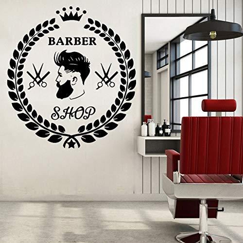 XCSJX Peluquería Pegatinas de Pared calcomanías de peluquería peluquería decoración de la Ventana peluquería Estudio Pegatinas Hermosa Rama de Olivo Corona calcomanía 47x50 cm