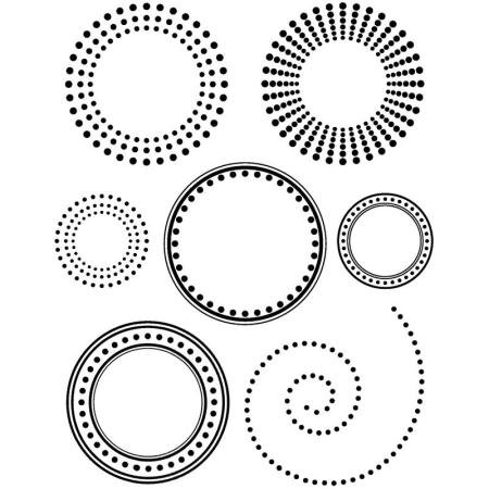 Artemio 10020027 Mini-stempel, transparant, cirkels, kunststof, meerkleurig, 7 x 9 cm