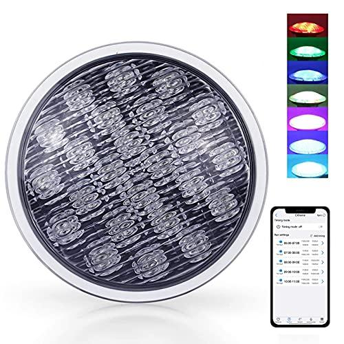 CXhome Luces Sumergibles Piscina 54W 12-24V RGB PAR56 Iluminacion Piscina Luz LED Impermeable 18*3W Chips LED IP68 Bluetooth APP Control a Prueba de Agua 32 Efectos de Luz para Piscinas