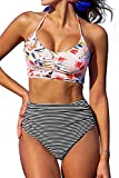CUPSHE Women's This is Love High Waisted Lace Up Halter Bikini Set, Pink, X-Large