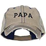 Papa Embroidered Low Profile Cotton Mesh Cap - Khaki OSFM