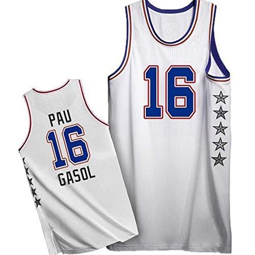 Zyf Camiseta Baloncesto PAU Gasol # 16 Jersey De Baloncesto De Los Hombres, Transpirable Resistente Al Desgaste Bordó La Camiseta Camiseta, XS-XXL (Color : B, Size : M)