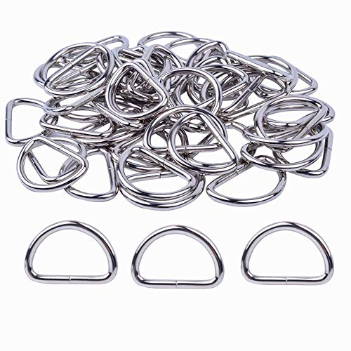 Metal D Rings Heavy Duty 1 Inch D Shape Rings for Sewing, Keychains, Straps Ties, Belts, Crafts and Dog Leash (50 Pack)