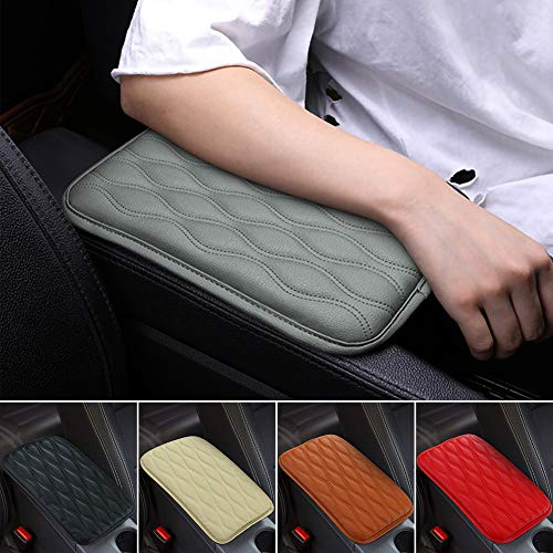 SUHU Universal Auto Center Console Cover Pad Fit for SUV/Truck/Car, Waterproof Car Armrest Seat Box Cover, Leather Auto Armrest Cover Gray