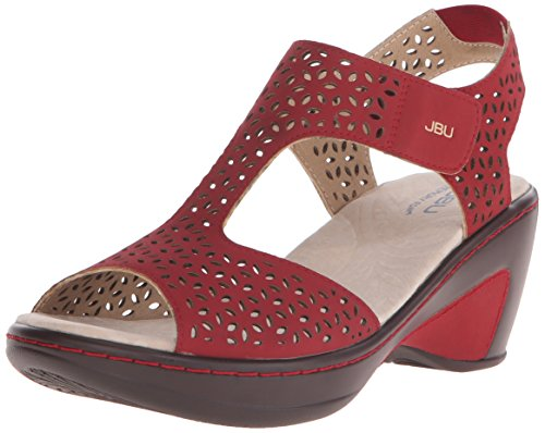 JBU by Jambu Women's Chloe Wedge Sandal, Red, 10 M US