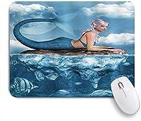 EILANNAマウスパッド 海の岩の上の人魚の女の子の人魚のグラフィックアートプリント神話上のキャラクター ゲーミング オフィス最適 おしゃれ 防水 耐久性が良い 滑り止めゴム底 ゲーミングなど適用 用ノートブックコンピュータマウスマット