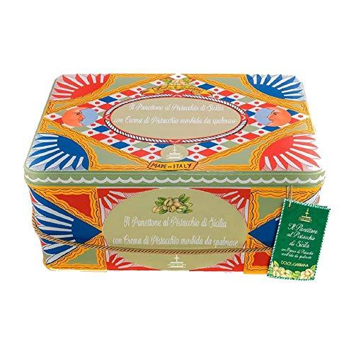 1Kg Dolce&Gabbana Fiasconaro Panettone mit Pistazien + Pistaziencreme + Messerchen Limited Edition mit Geschenkbox und Geschenktüte