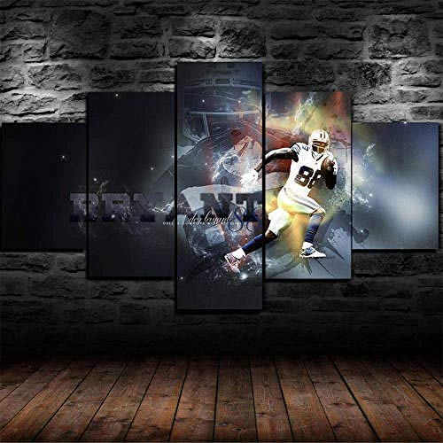 Canvas Picture 5 Piece - 150X80Cm Dallas Cowboys Dez Bryant Canvas Prints 5 Part Panels - Ready to Hang - Wall Art Print - Completely Framed - Image Printed (ZYJ927)