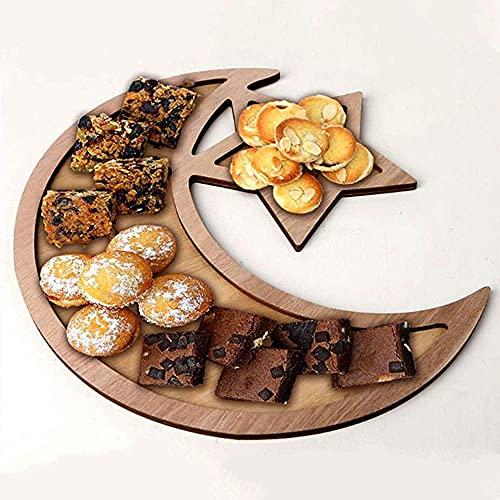WTC Placa de Fruta de Madera Decoración de la Placa de Postre, Plato de Cena de Madera, Usado para Bodas Fiestas de cumpleaños Eid al-Fitr, etc. (Color : Moon Star)