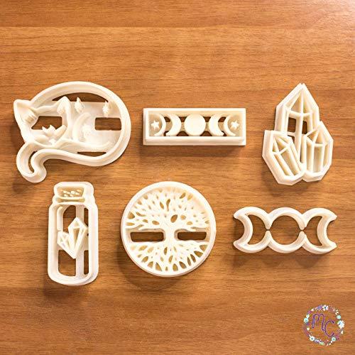 Witchy Soul Set von Keksausstechformen, Hexenmagie-Thema, auch geeignet für Zuckerpaste, Kuchendekoration, handwerklichen Ton, Fondant, Fimo und andere Modellierpasten