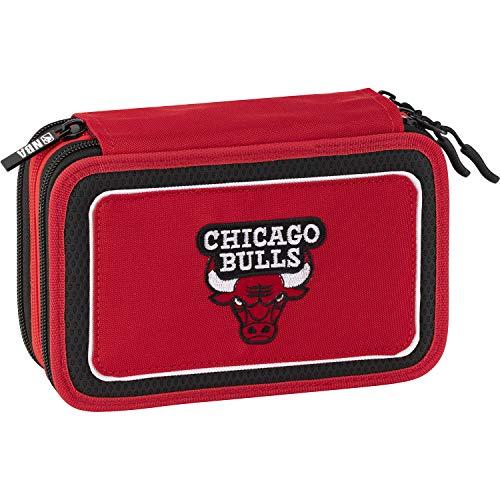 NBA Estuche con 3 cremalleras Chicago Bulls Rojo