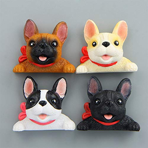 shenlanyu Imanes para nevera (4 unidades), diseño de bulldog francés, para nevera, diseño de perro con cabeza grande, diseño de animal, pizarra blanca