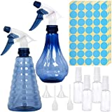 2PCS 400ml/13.5oz Plastic Spray Bottles, Reusable and Refillable Spray bottles, Rotary Nozzle Adjustable Water spray Bottles with Mist & Stream Modes