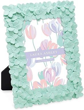 Laura Ashley - Marco de fotos de resina con textura de flor verde menta, 10 x 15 cm, con caballete y gancho para mesa y pared