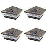 iGlow 4 Pack Vintage Bronze Outdoor 4 x 4 Solar 5-LED Post Deck Cap Square Fence Light Landscape Lamp PVC Vinyl Wood