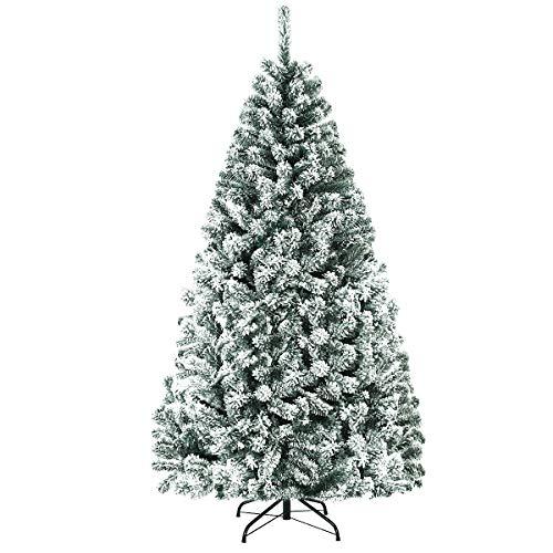 COSTWAY 180/225cm Künstlicher Weihnachtsbaum mit Schnee, Tannenbaum mit Metallständer, Christbaum PVC Nadeln, Kunstbaum Weihnachten Klappsystem ideal für Zuhause, Büro, Geschäfte und Hotels (180cm)