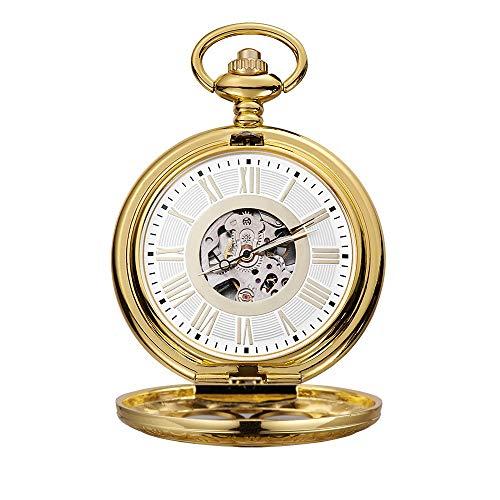 WFDA Reloj de Bolsillo con la Cadena Reloj de Bolsillo mecánico con Tallado Romano y maquinaria clásica de Oro Hueco (Color : Gold, Size : 4.7x1.5cm)