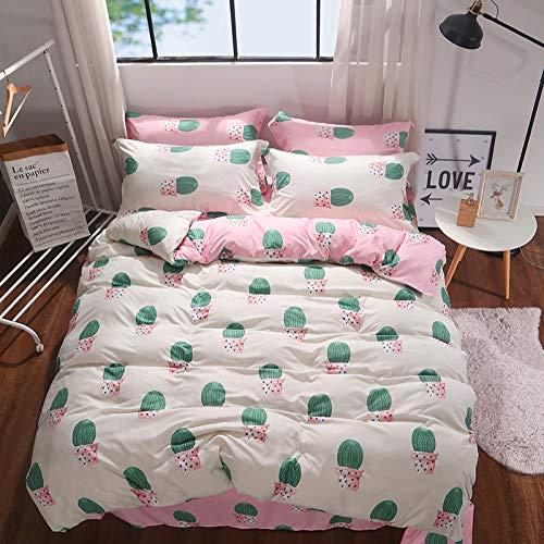 SSHHJ Cactus Rosa Funda Nórdica Zanahoria Lindo Juego De 4 Piezas Ropa De Cama De Flores Todas Las Estaciones Lavable Universal