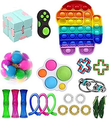 Fidget Toy Packs, Set De Juguetes Sensoriales Fidget Baratos con Simple Dimple Pop Bubble Infinite Cube Stress Ball y Anti Stress Relief Toy Stress Ball (22 Piezas I) de YCYC